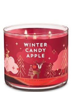 bbw 3-wick candle winter candy apple